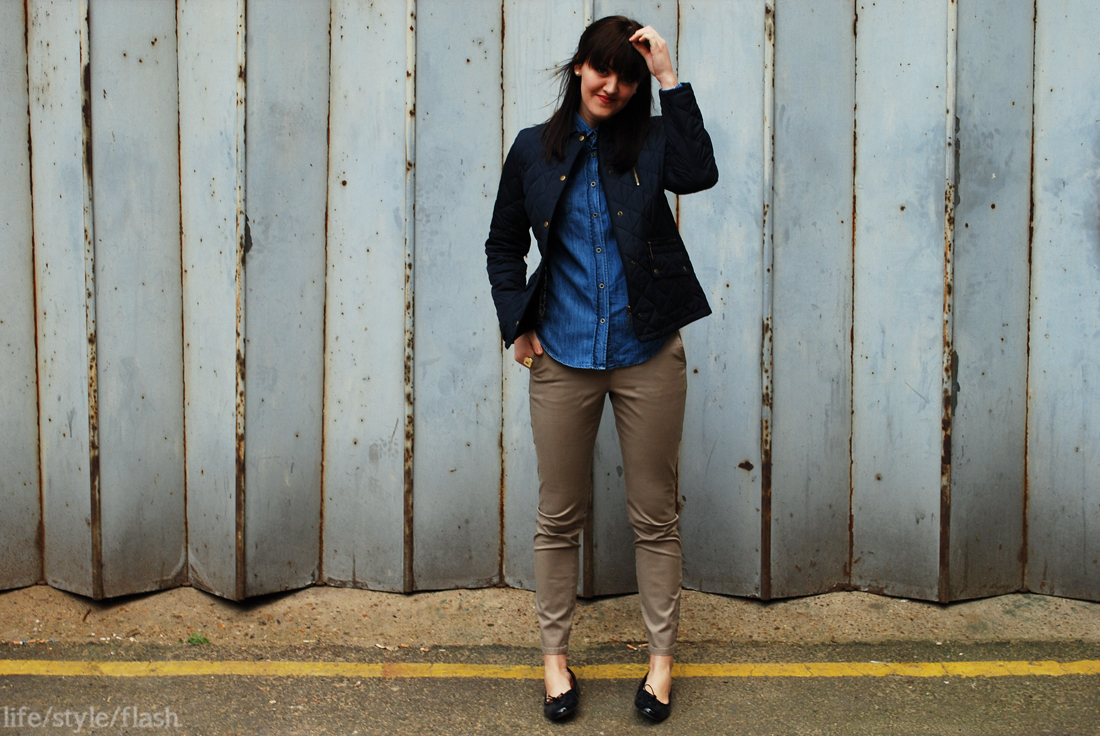 Outfit - cigarette pants, denim shirt, quilted jacket and ballet pumps