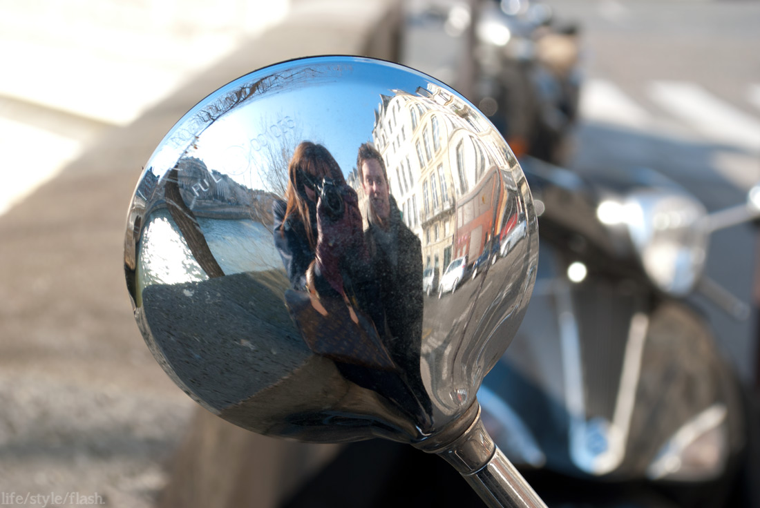 Me and Chris reflected in a scooter mirror