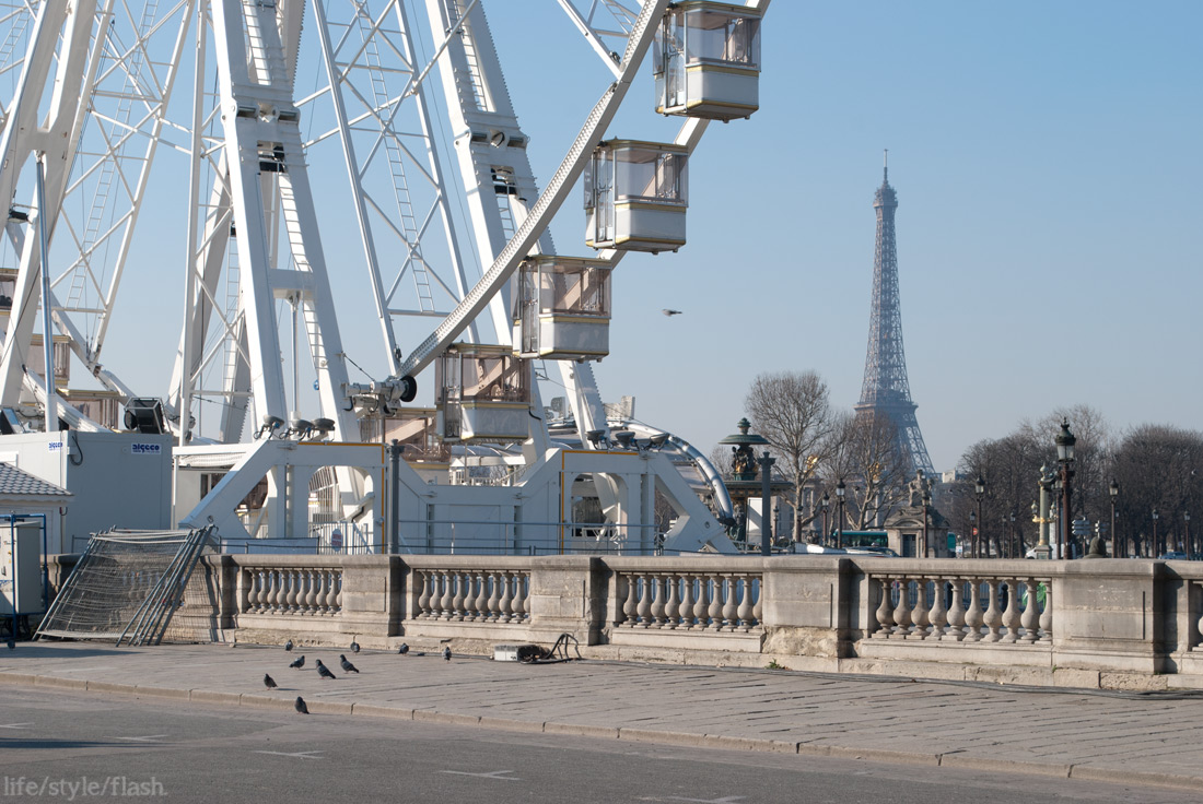 Paris ferris wheel and Eiffel Tower