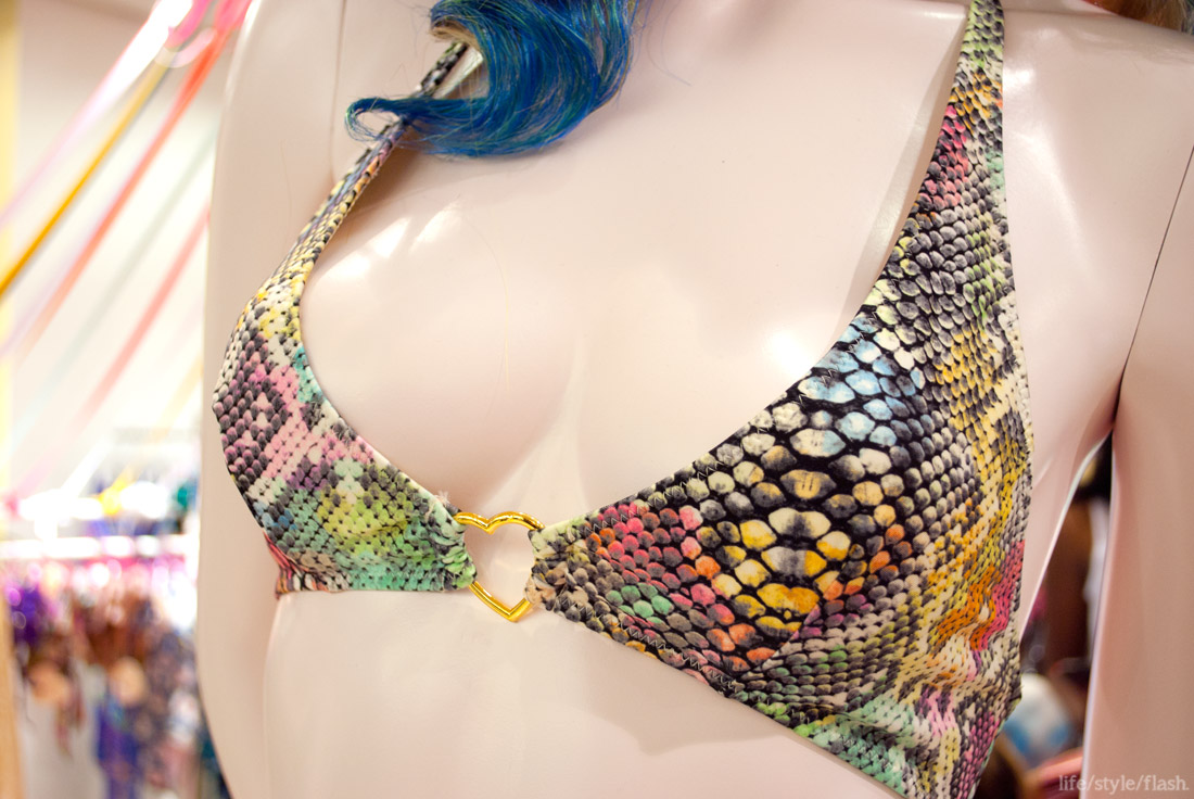Pistol Panties at Selfridges pop-up swimwear shop, March-May 2012: bikini top close-up