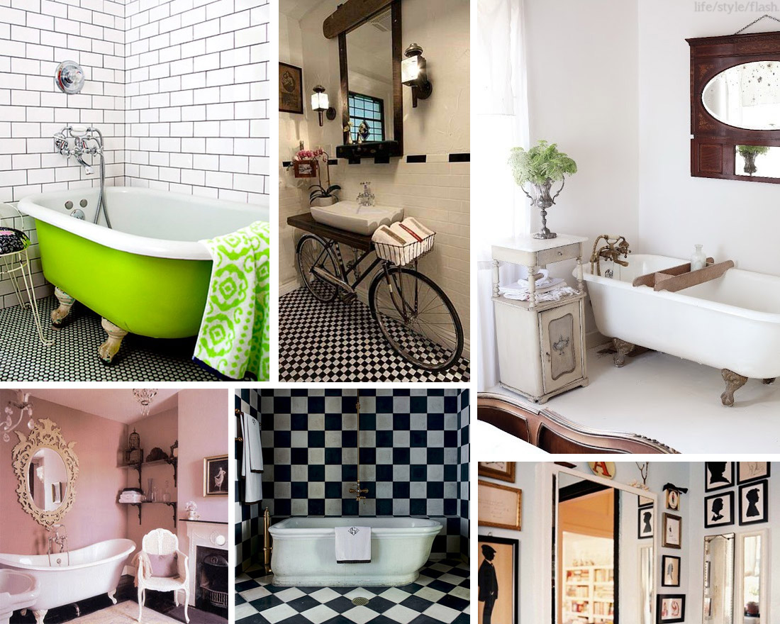 A collage of stylish bathrooms