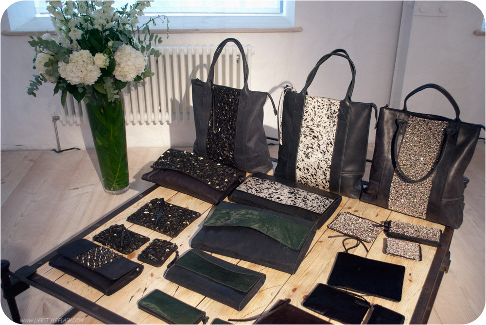 All Saints AW12 press day - bags laid out on a table