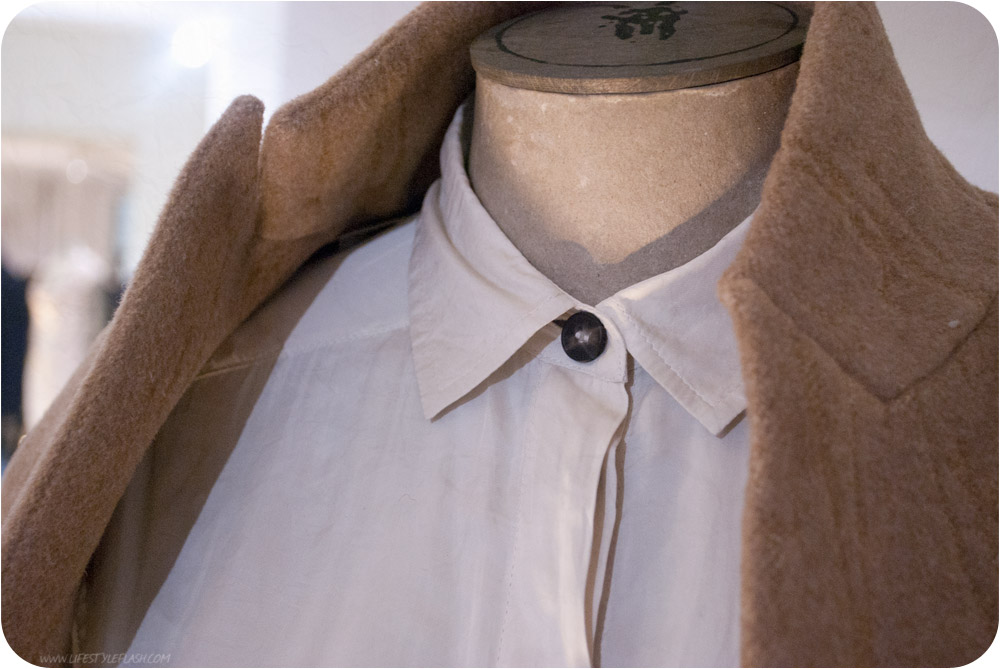 All Saints AW12 press day - buttoned-up collar close-up