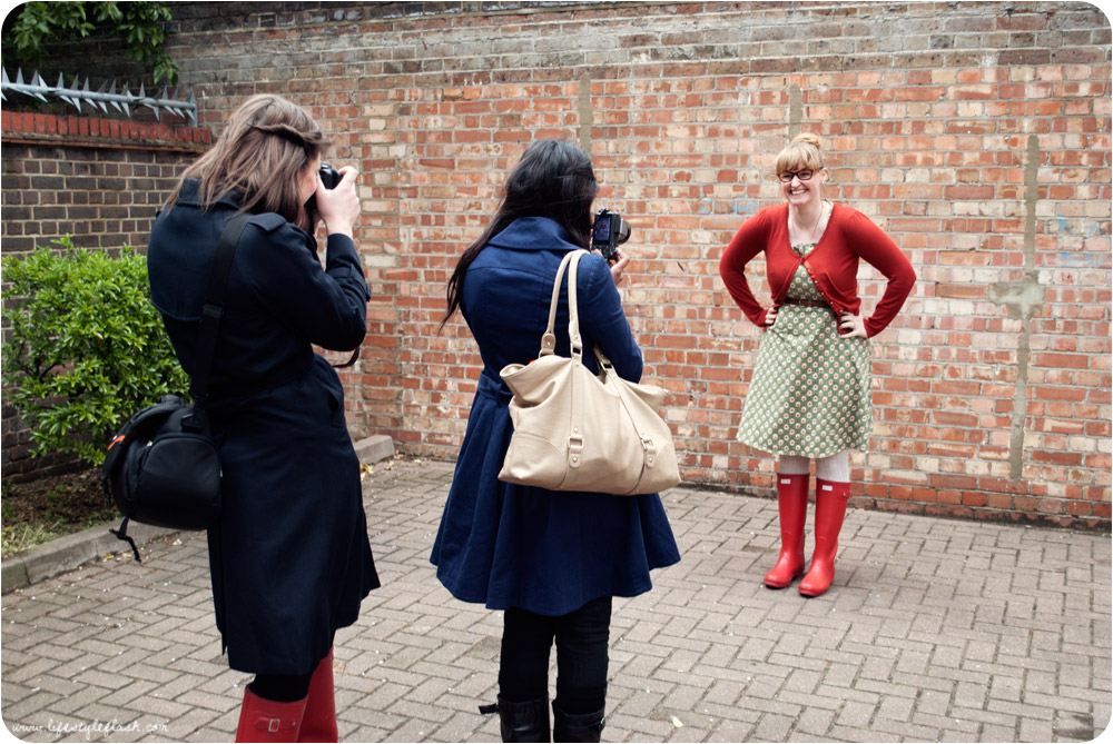 Fashion bloggers taking outfit photos