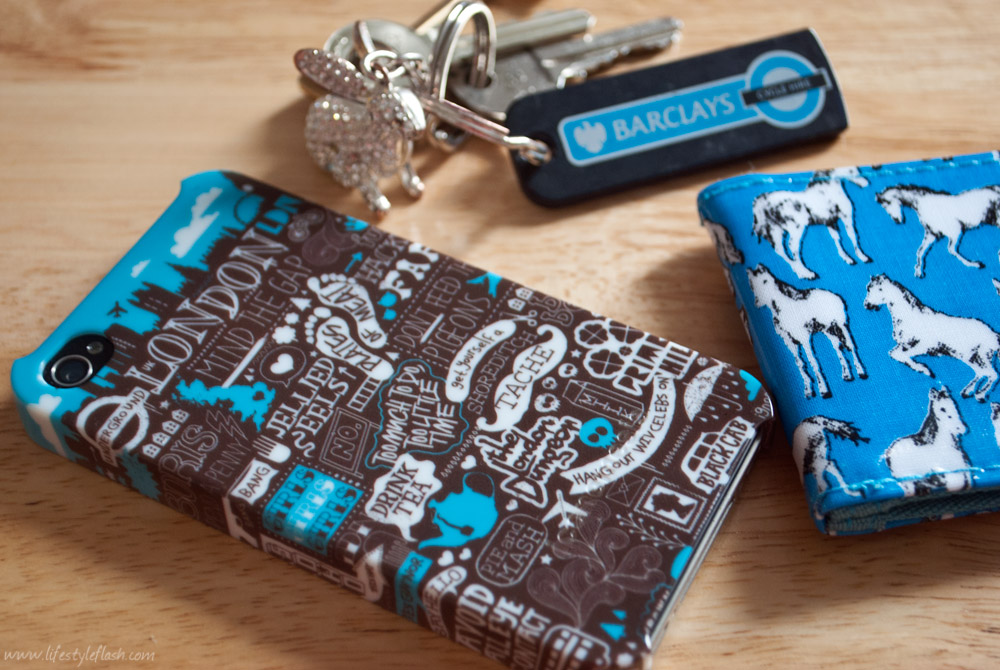 "Iconemesis ""London Village"" iPhone cover, keys and travelcard"