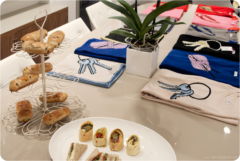 Olivia Rubin AW12 press day - food and intarsia knitwear laid on the table