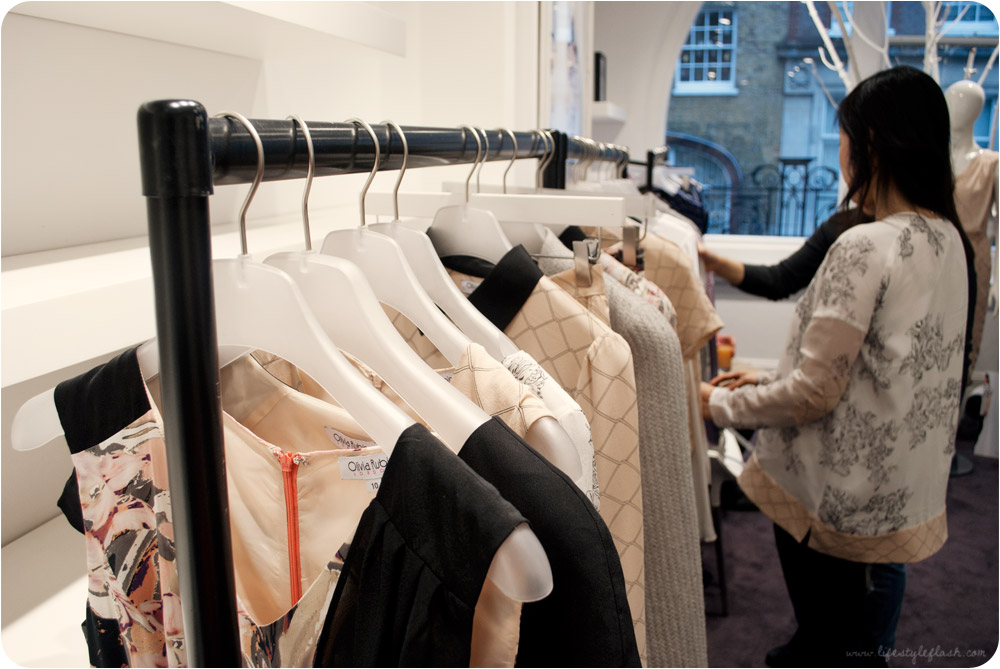 Olivia Rubin AW12 press day - looking through clothing rails in the showroom
