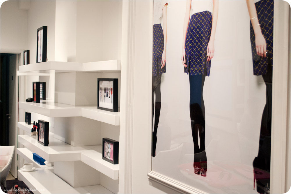 Olivia Rubin AW12 press day - prints displayed on shelves in the showroom
