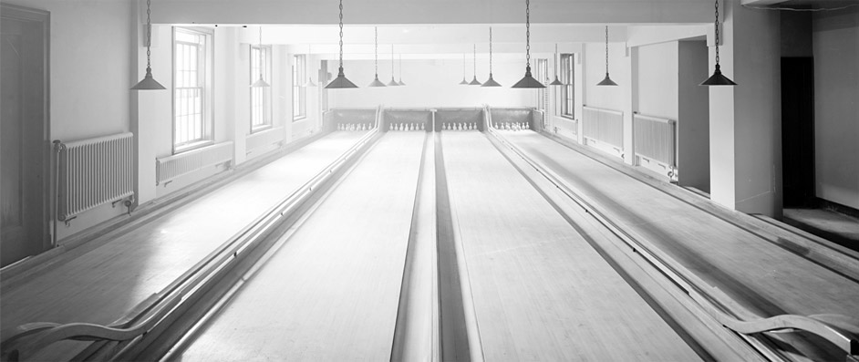 Bowling alley in black and white