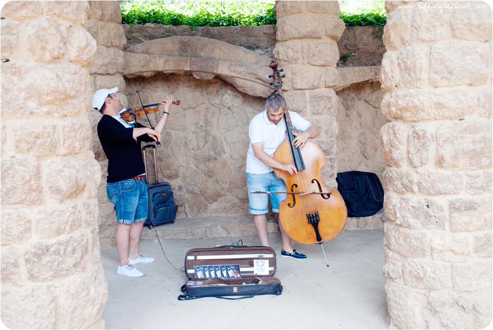 Barcelona, Spain. Classical musicians performing in Park Guell.