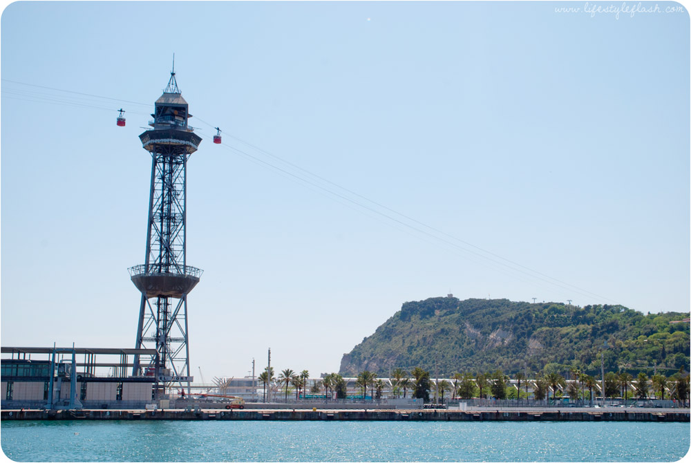 Barcelona, Spain. A cable car tower (Torre Jaume I) at the port.