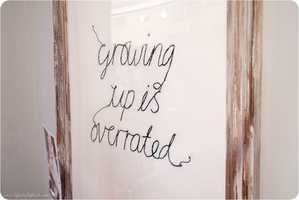 "Boden AW12 press day - ""Growing up is overrated"" embroidered print"