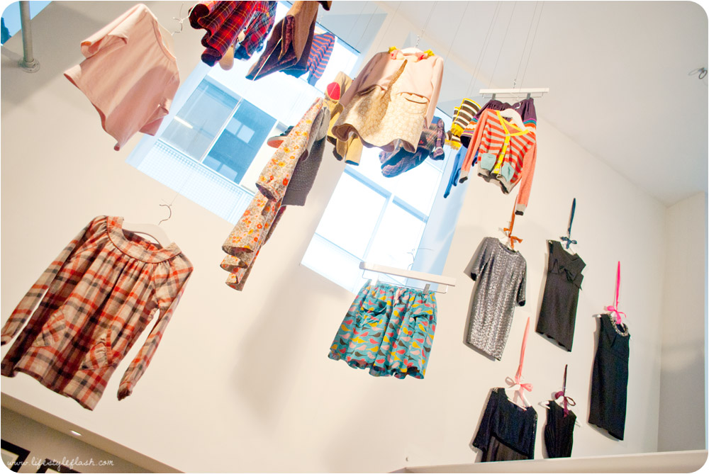 Boden AW12 press day - showroom with hanging clothes