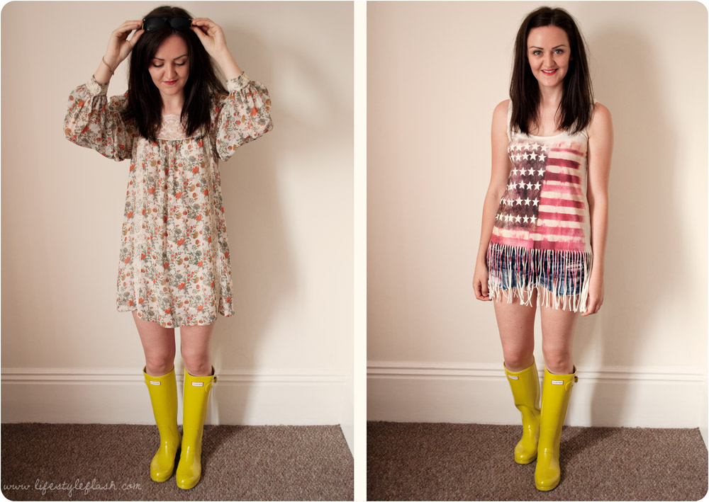 My Hunter Boots Blogger Festival Challenge outfits
