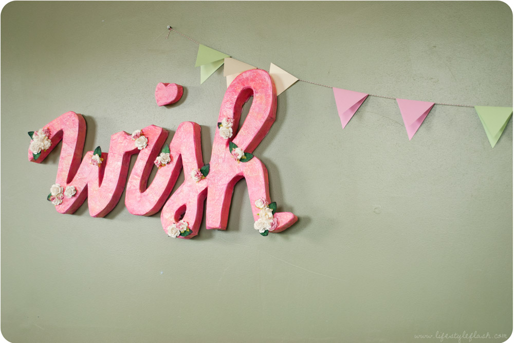 Wish launch party -Wish papier-mâché sign and bunting