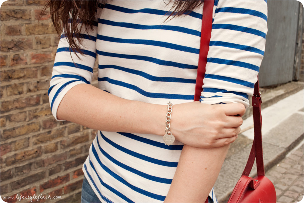 Outfit close up - Breton top, Cambridge Satchel, Tiffany & Co. bracelet