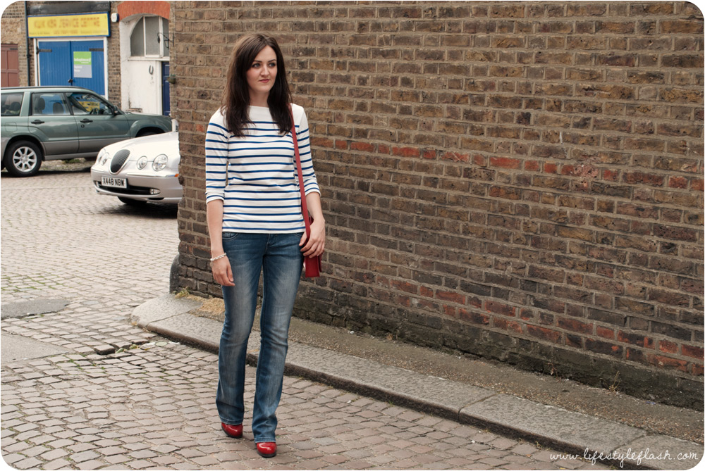 Outfit - Breton top, jeans, Cambridge satchel