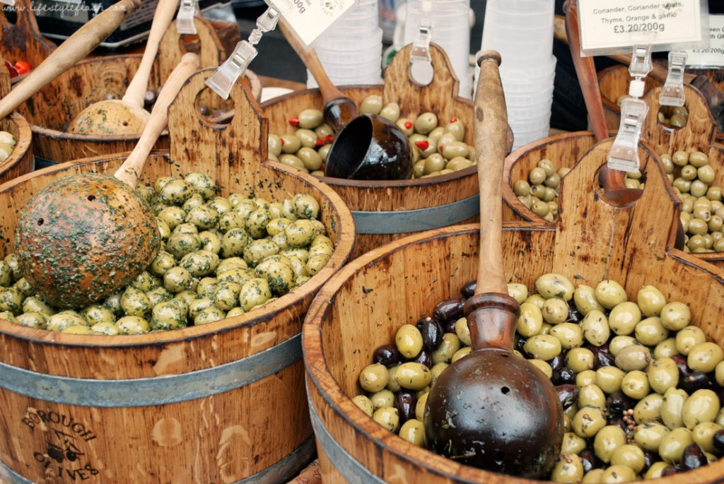 Buckets of fresh olives at Borough Market in London