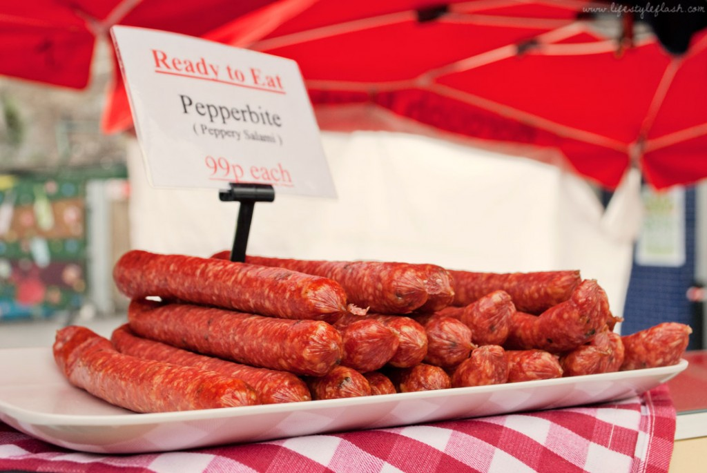 Pepperbite ready-to-eat sausages at Borough Market in London