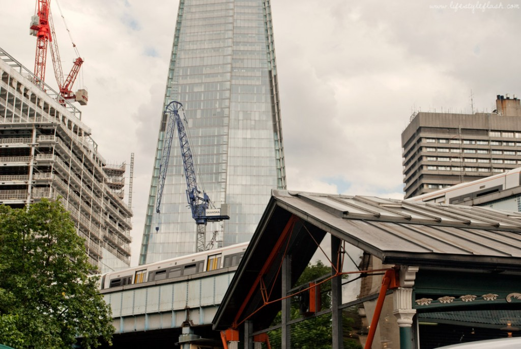 The Shard looming over Borough Market in London