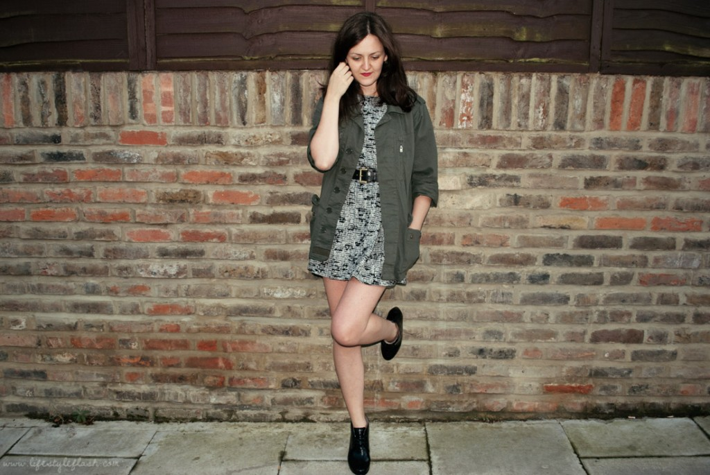 AW12 heritage trend outfit: ECCO shoe boots, army jacket, tweed dress