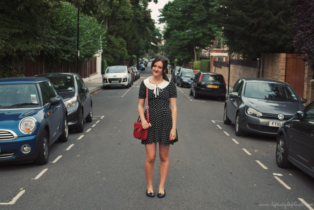 Outfit - OASAP dress, Cambridge Satchel, ballet flats