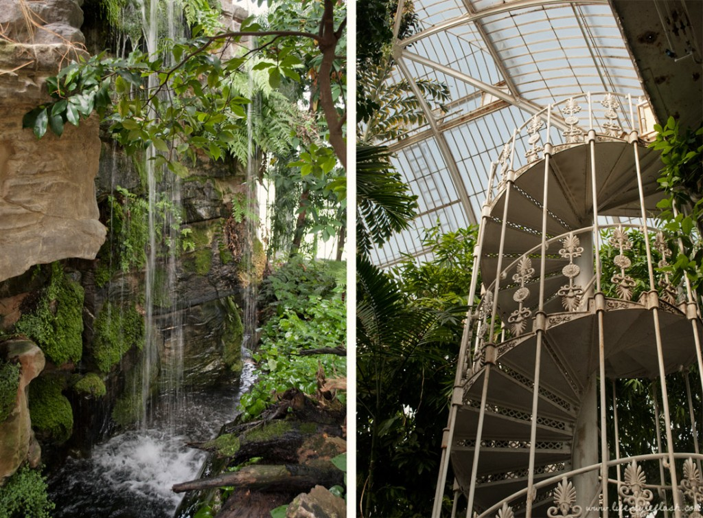 Waterfall and spiral staircase in Kew Gardens