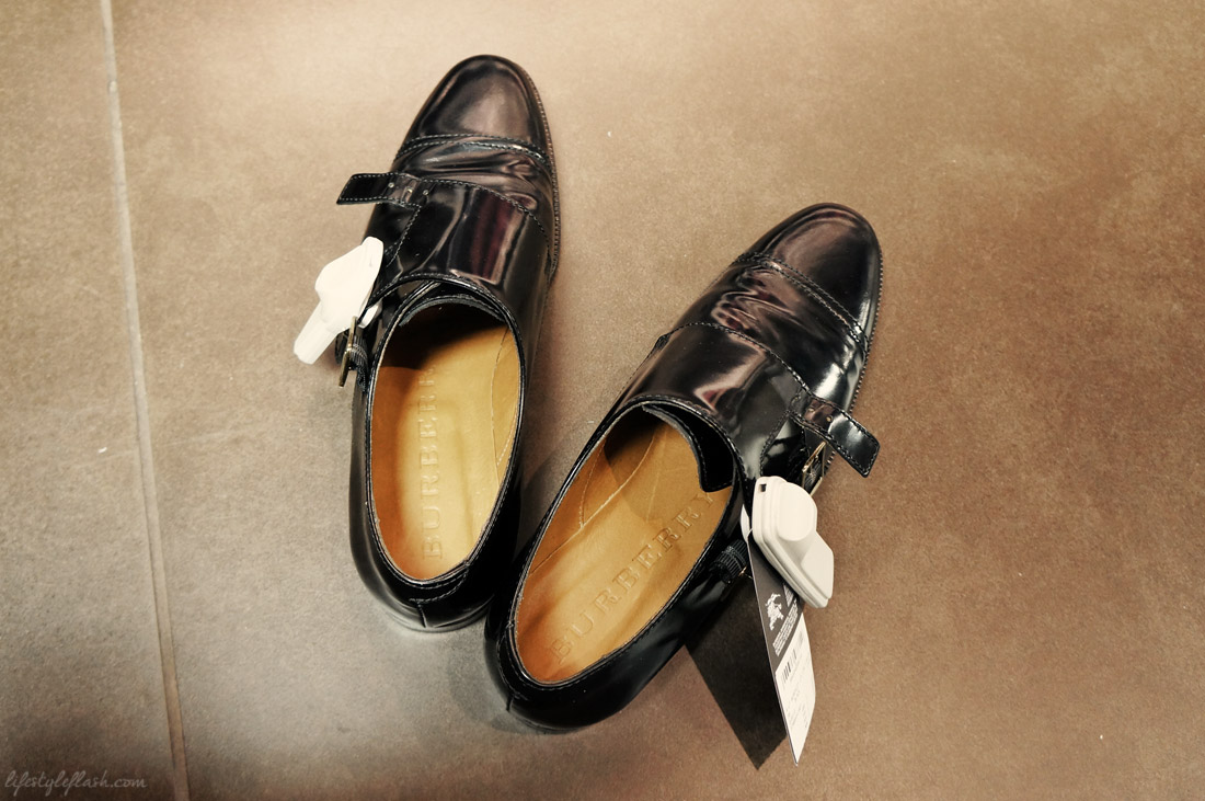 Women's leather brogues at the Burberry Outlet store in London
