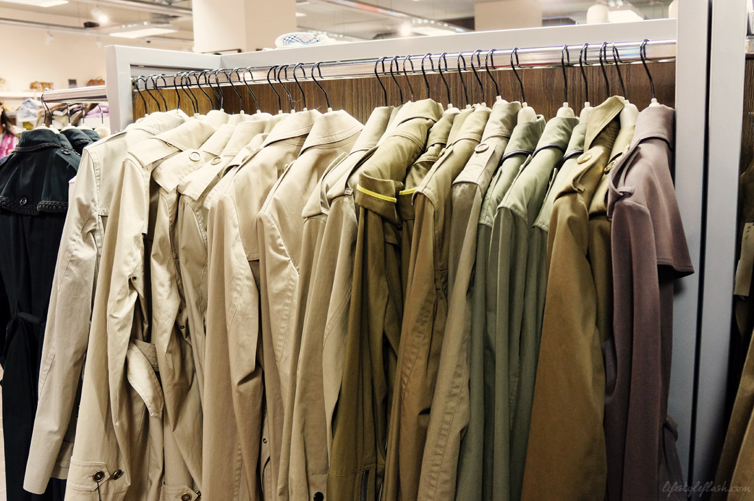 Classic trench coats at the Burberry Outlet store in London