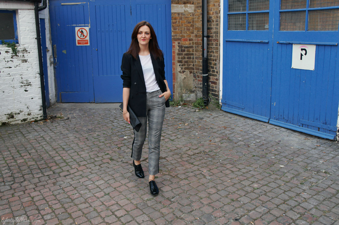 Outfit inspired by AW12's androgynous and heritage trends: checked trousers, oversized blazer, patent brogues