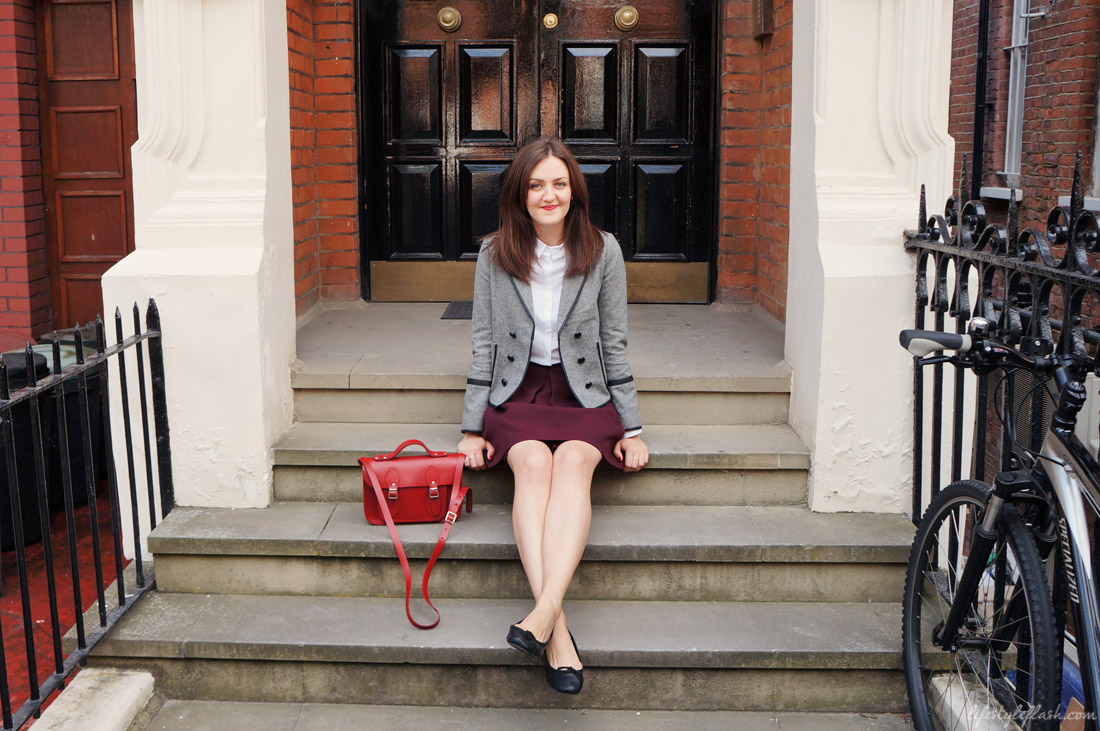 Outfit inspired by AW12's heritage trend, featuring a tweed jacket, white shirt, oxblood skirt and satchel