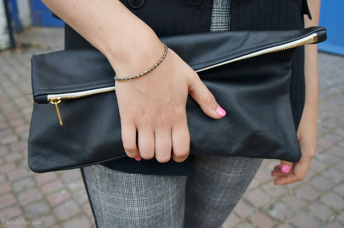 Outfit inspired by AW12's androgynous and heritage trends: American Apparel leather clutch, Astley Clarke friendship bracelet, pink nail polish (Essie's Castaway)