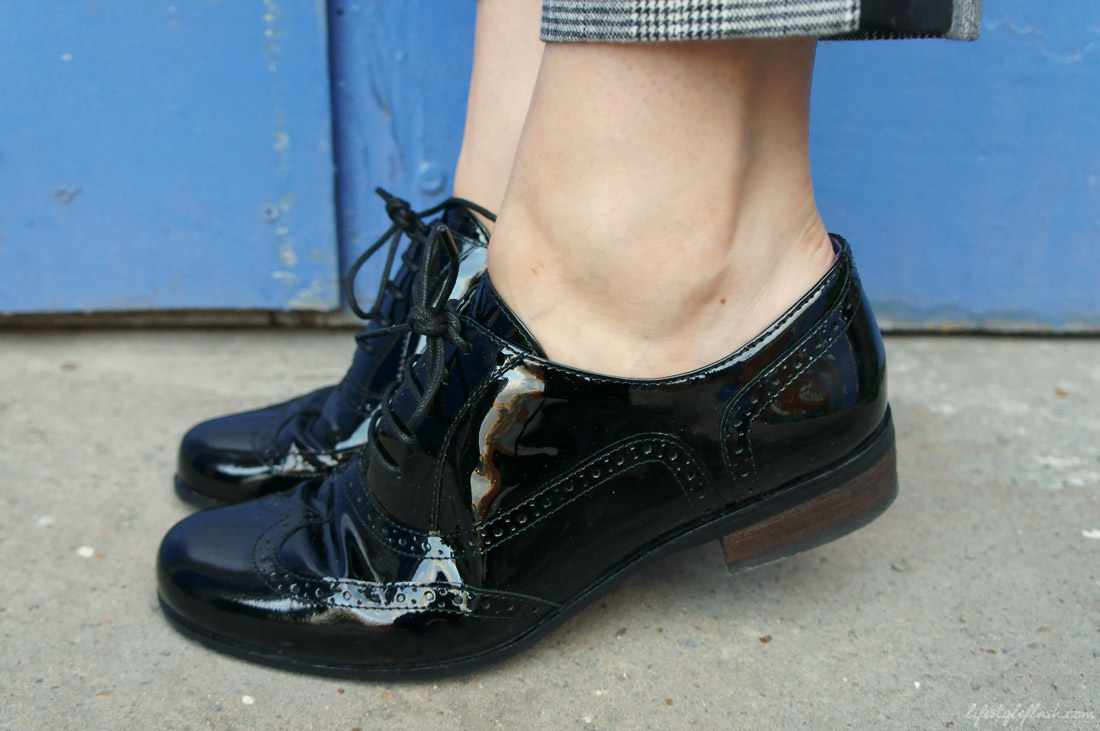 Outfit inspired by AW12's androgynous and heritage trends: Clark's Hamble Oak black patent leather brogues