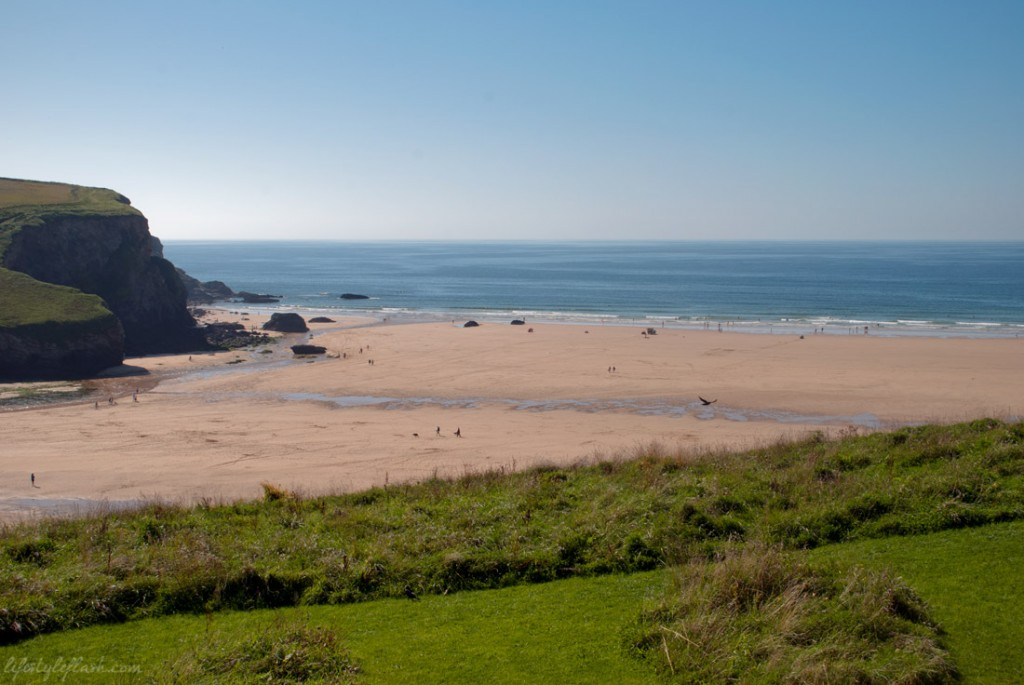 View of Mawgan Porth beach from the Scarlet Hotel, Cornwall