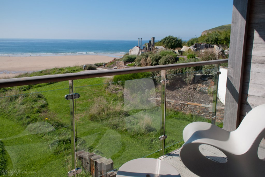 View from Just Right room balcony at the Scarlet Hotel, Mawgan Porth, Cornwall