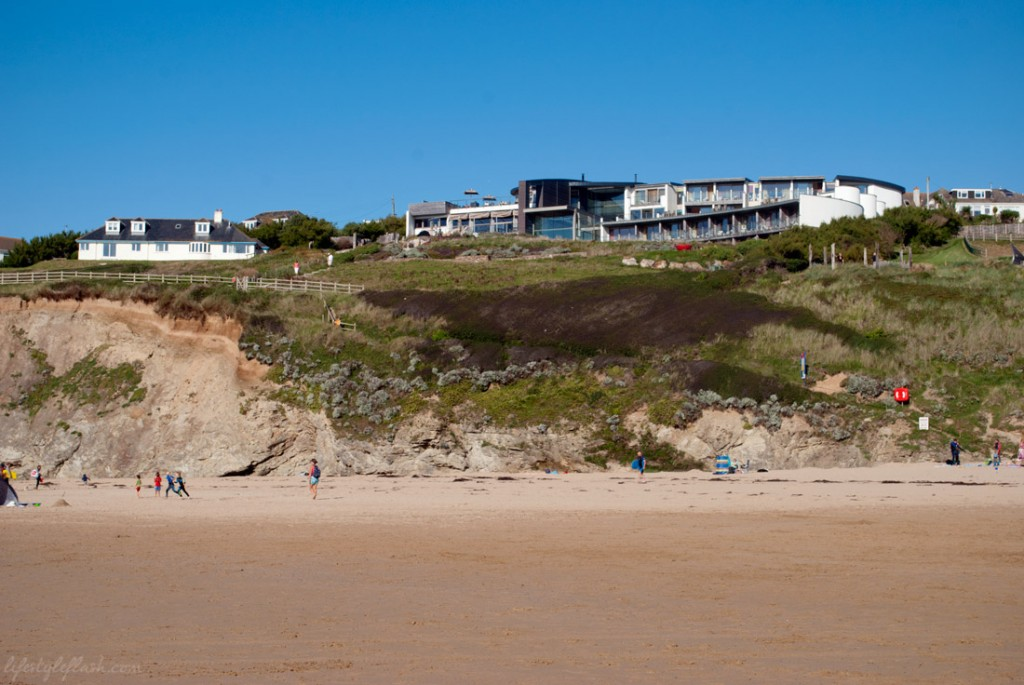 The Scarlet hotel, as seen from Mawgan Porth Beach in Cornwall