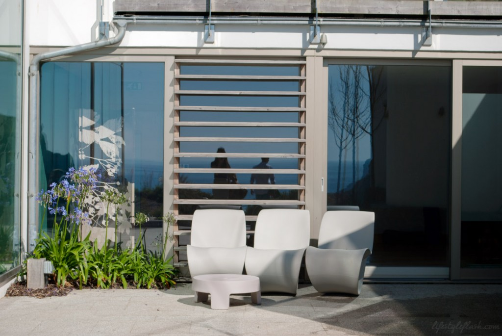 Outdoor seating area at the Scarlet Hotel, Mawgan Porth, Cornwall