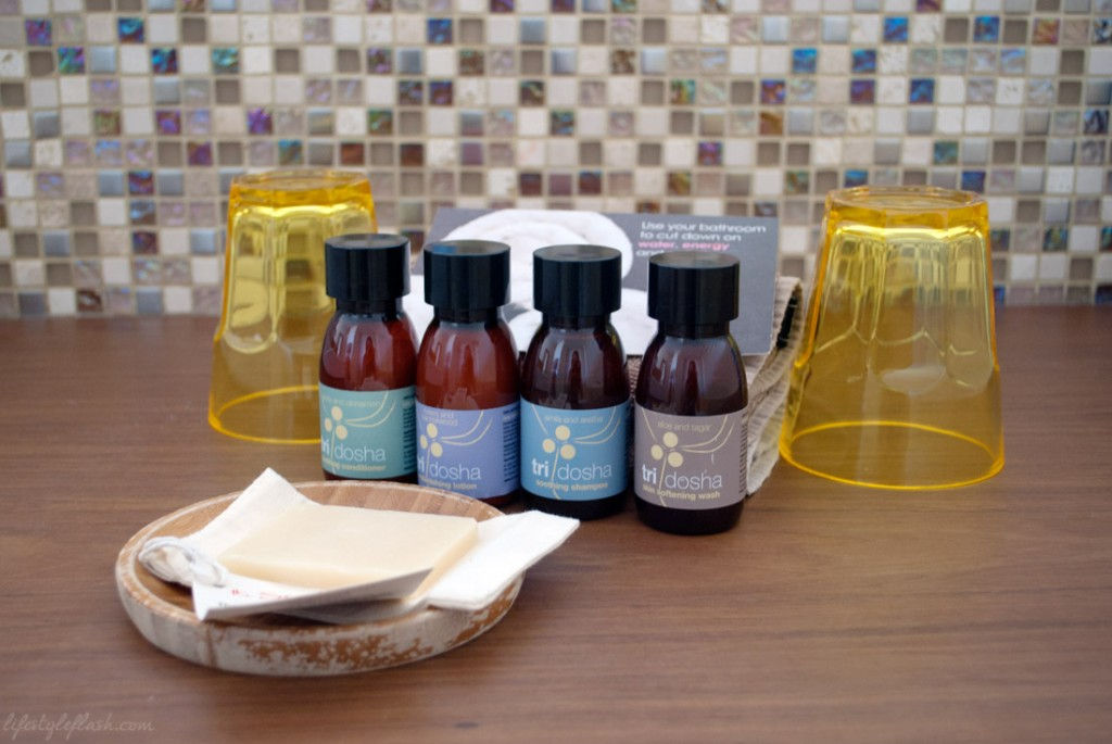 Tri-Dosha toiletries at the Scarlet Hotel, Mawgan Porth, Cornwall