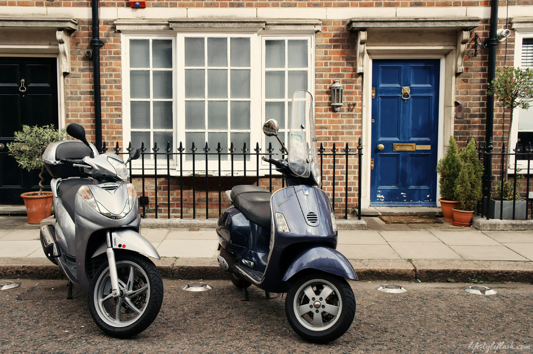 Cute Knightsbridge house complete with Vespa scooters outside