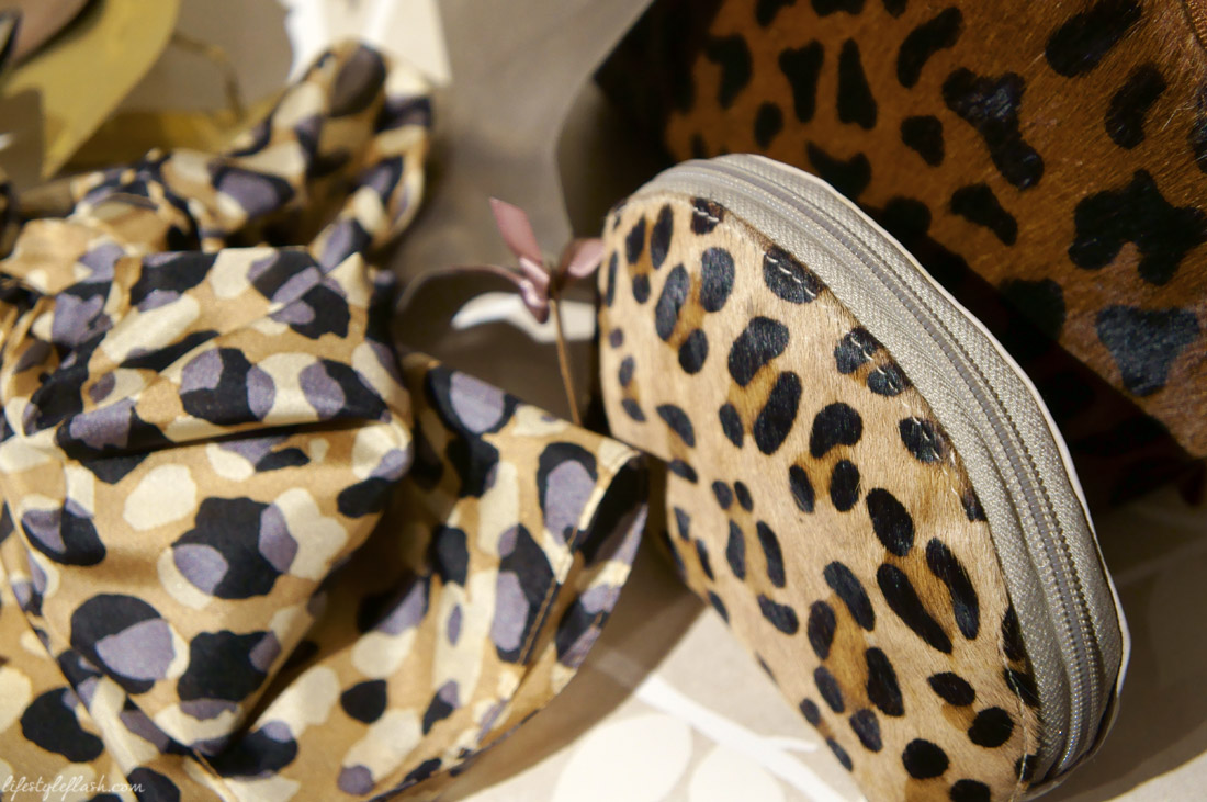 Ponyskin, leopard print cosmetic bags at Laura Ashley's blog birthday party
