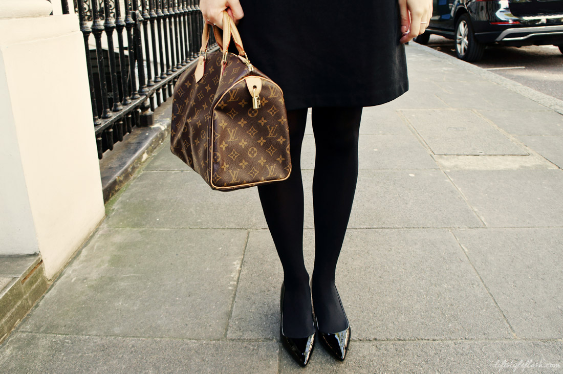 1960s-style LBD, black patent leather kitten heels and Louis Vuitton Speedy handbag