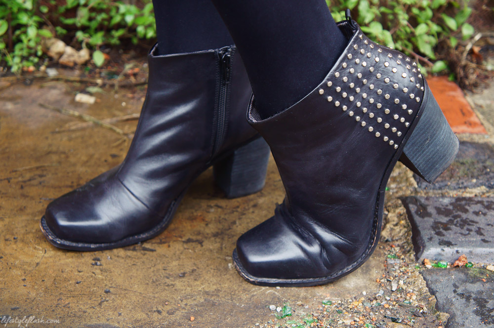 Bertie Pilots black studded leather ankle boots