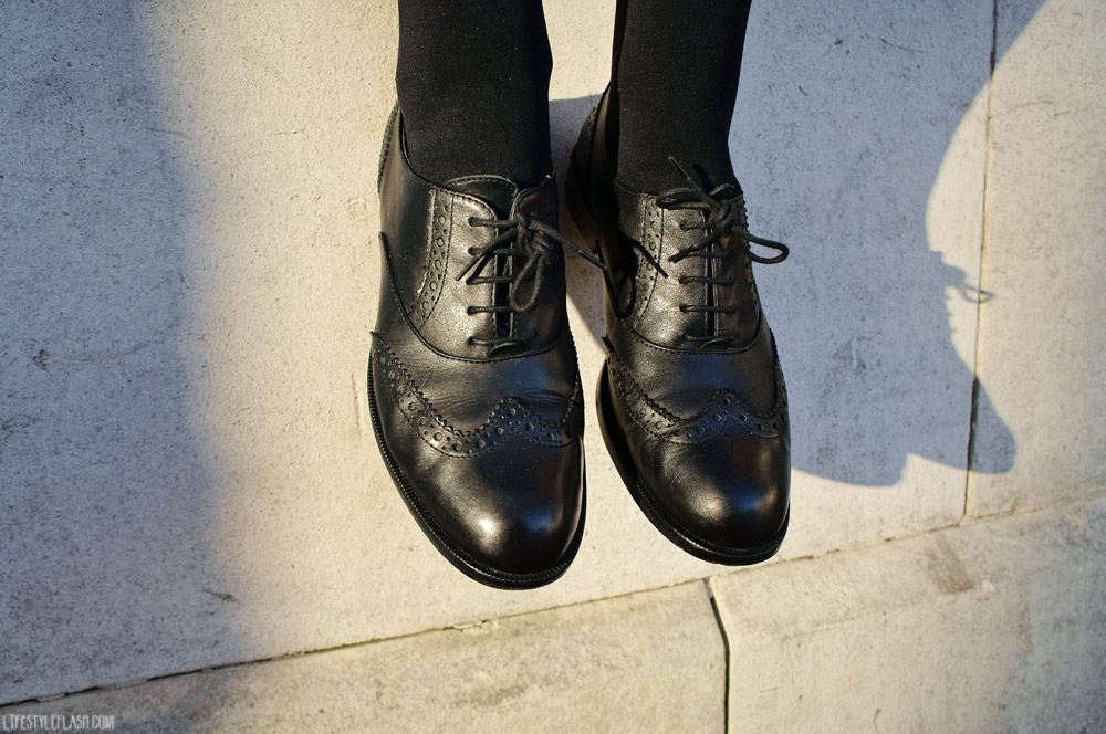 Wearing: Jones black leather brogues