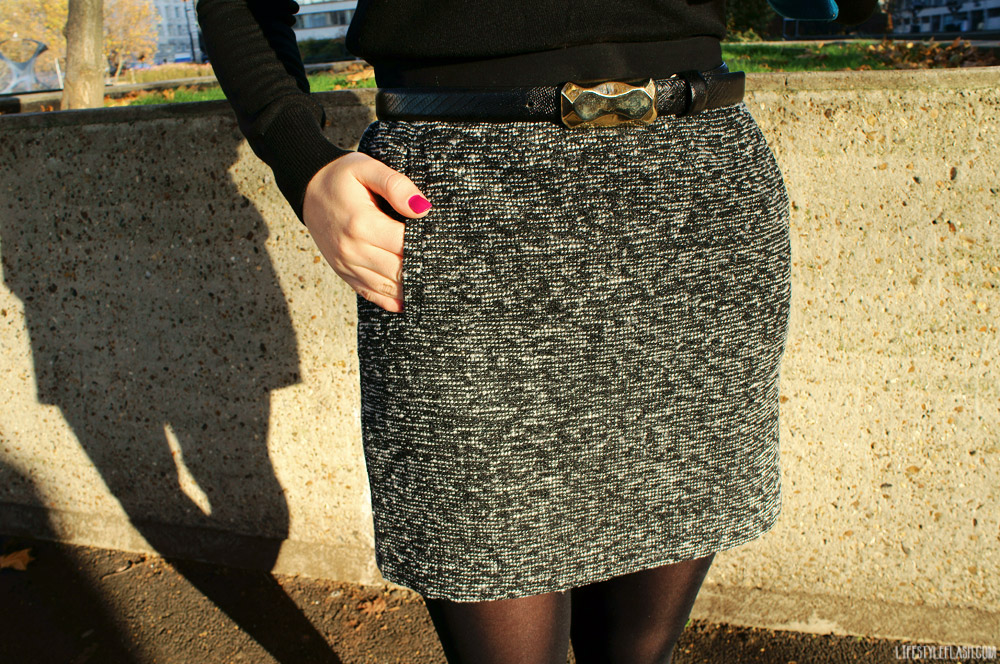 "Wearing: Next tweed mini skirt, Oscar de la Renta belt, Leighton Denny nail polish ""Maroon Me Knot"""