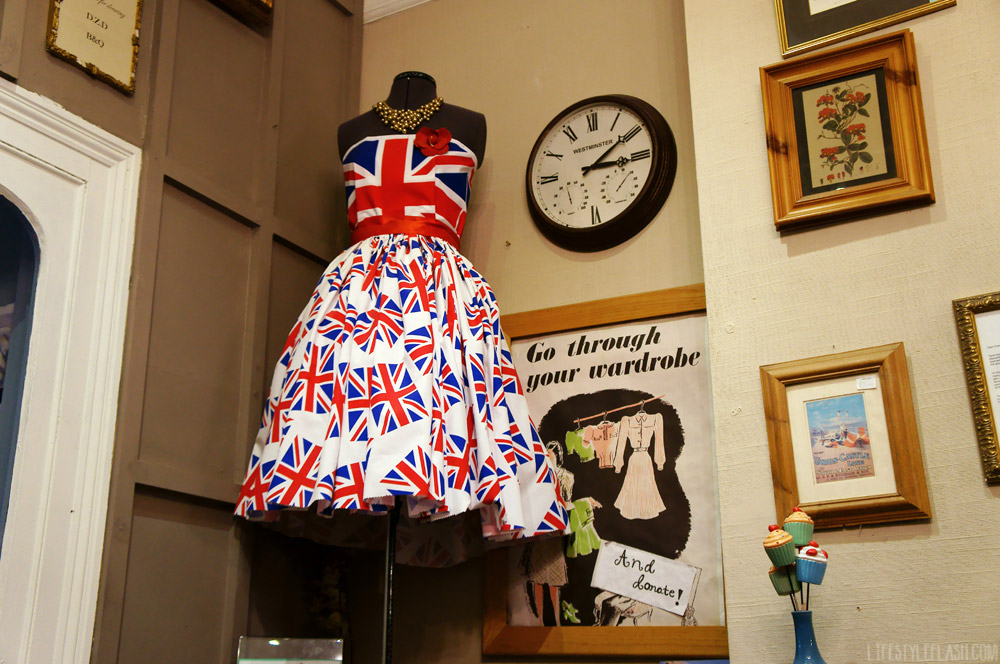 Union jack dress in mary's living & giving shop, Primrose Hill