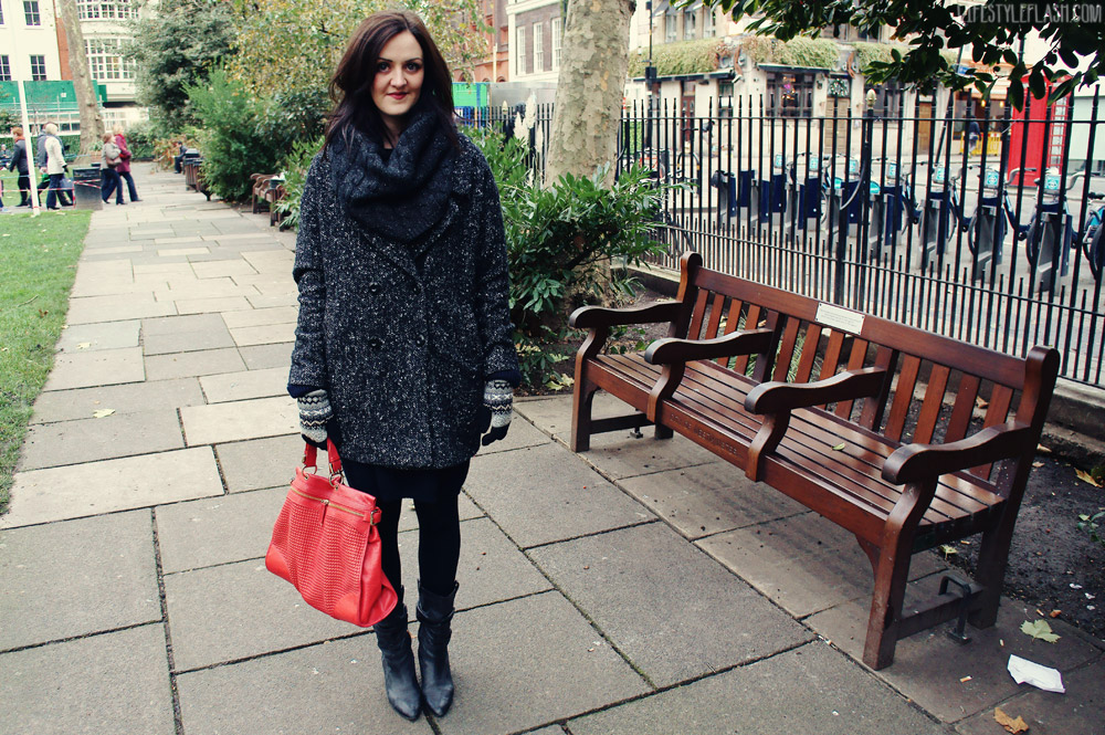 {AW12 outfit} Whistles knitted dress, Hobbs wool snood, River Island mid-calf boots, Wallis tweed coat