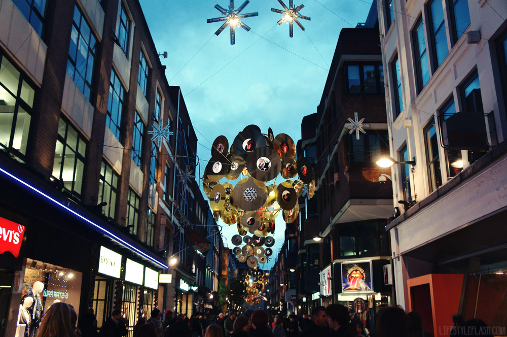 Carnaby Street Rollin' Stones Christmas lights, 2012