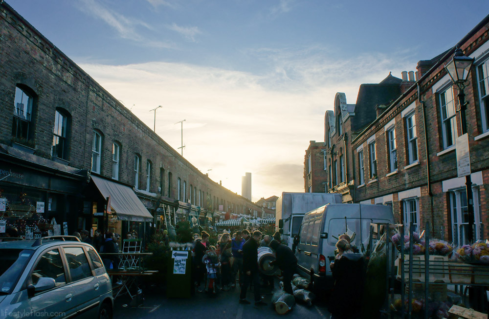 Sunset over Columbia Road Flower Market, London