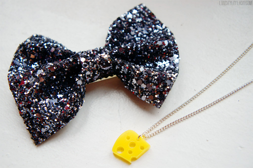 Crown and Glory glitter bow, Tatty Devine cheese pendant necklace
