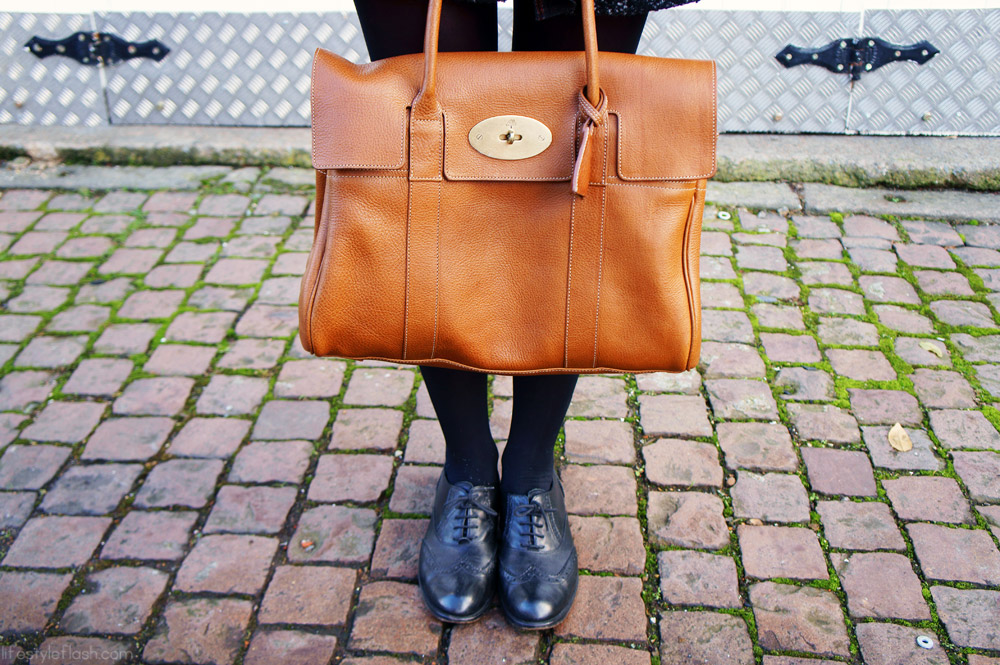 AW12 outfit | Mulberry Bayswater bag, Jones brogues